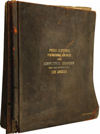 Huge Leather Album Containing Press Clippings From the National Air Races and Aeronautical Exposition, 1928, Mines Field...