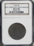 1723 2PENCE Rosa Americana Twopence MS61 Brown NGC. Breen-96. A lovely medium brown representative of this William Wood...