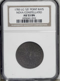 Colonials: , 1783 COPPER Nova Constellatio Copper, Pointed Rays, Large US AU53 NGC. Crosby 1-A, R.3. Struck a few degrees off center tow...