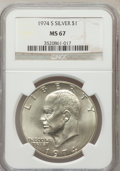 Eisenhower Dollars: , 1974-S $1 Silver MS67 NGC. NGC Census: (841/133). PCGS Population(3498/906). Mintage: 1,900,156. Numismedia Wsl. Price for...