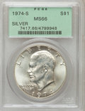 Eisenhower Dollars: , 1974-S $1 Silver MS66 PCGS. PCGS Population (2243/4404). NGC Census: (810/974). Mintage: 1,900,156. Numismedia Wsl. Price f...