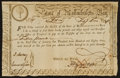 Colonial Notes:Massachusetts , Massachusetts Treasury Certificate 6% Class the Fourth £15 February5, 1780 Anderson MA-16. Very Fine.. ...