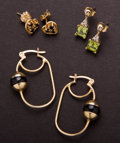 Estate Jewelry:Earrings, Three Pair Of Gold Earrings. ... (Total: 3 Items)