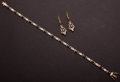 Estate Jewelry:Other , Sapphire & Diamond Gold Bracelet & Earrings. ... (Total: 2Items)