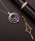 Estate Jewelry:Other , Tanzanite & Diamond Pendant & Early Gold Pendant & ADiamond Ring. ... (Total: 3 Items)
