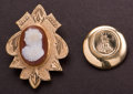Estate Jewelry:Other , Estate Cameo Pin & Gold Coin Button Pendant. ... (Total: 2Items)