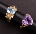 Estate Jewelry:Rings, Two Gold Rings. ... (Total: 2 Items)