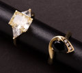 Estate Jewelry:Rings, Two Gold & Synthetic Stone Rings. ... (Total: 2 Items)