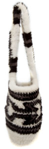 Luxury Accessories:Bags, J. Mendel White and Black Aztec Design Mink Bag. ...