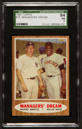 Baseball Cards:Singles (1960-1969), 1962 Topps Managers' Dream - Mantle/Mays #18 SGC 84 NM 7....