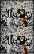Football Collectibles:Photos, Max McGee Signed Photographs Lot of 2 - Shot from 1st Ever SuperBowl Touchdown! ...