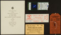 Football Collectibles:Others, 1960-97 Green Bay Packers Significant Tickets and Super Bowl II Banquet Invitation Lot of 5....