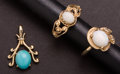 Estate Jewelry:Other , Two Gold Opal Rings & One Gold Turquoise Pendant. ... (Total: 3 Item)