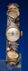 Timepieces:Wristwatch, Omega 14k Gold, Painted Equestrian Motifs Under Glass, UniqueLady's Wristwatch. ...