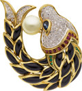 Estate Jewelry:Brooches - Pins, Diamond, Cultured Pearl, Multi-Stone, Gold Brooch. ...