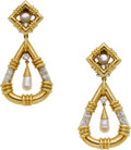 Estate Jewelry:Earrings, Diamond, Freshwater Cultured Pearl, Gold Earrings, English. ...