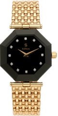 Estate Jewelry:Watches, H. Stern Lady's Diamond, Sapphire, Gold Bracelet Wristwatch, modern. ...