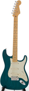 Musical Instruments:Electric Guitars, 2000 Fender Stratocaster Trans Green Solid Body Electric Guitar,Serial # DZ0067117....