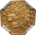 California Fractional Gold: , 1872 25C Indian Octagonal 25 Cents, BG-791, R.3, MS65 NGC. NGCCensus: (9/1). PCGS Population (14/3). (#10618)...