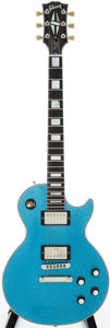 Musical Instruments:Electric Guitars, 2008 Gibson Les Paul Custom Blue Sparkle Solid Body ElectricGuitar, Serial # CS84622....