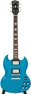 Musical Instruments:Electric Guitars, 2006 Gibson SG Les Paul Blue Sparkle Solid Body Electric Guitar,Serial # CS84575....