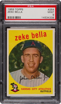 1959 Topps Zeke Bella #254 PSA Mint 9 - None Higher!