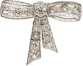 Estate Jewelry:Brooches - Pins, Art Deco Diamond, Platinum Bow Brooch. ...