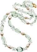 Estate Jewelry:Necklaces, Green Amethyst, Freshwater Cultured Pearl, Gold Necklace. ...