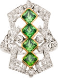 Estate Jewelry:Rings, Edwardian Demantoid Garnet, Diamond, Platinum, Gold Ring. ...