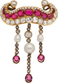 Estate Jewelry:Brooches - Pins, Victorian Diamond, Ruby, Cultured Pearl, Gold Brooch. ...