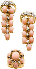 Estate Jewelry:Suites, Coral, Diamond, Gold Jewelry Suite. ...