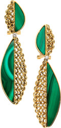 Estate Jewelry:Earrings, Malachite, Diamond, Gold Earrings. ...