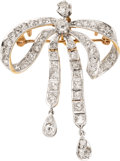 Estate Jewelry:Brooches - Pins, Belle Époque Diamond, Platinum-Topped Gold Pendant-Brooch. ...