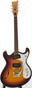 Musical Instruments:Electric Guitars, 1960s Mosrite Combo Sunburst Semi-Hollow Body Electric Guitar, Serial # H-1137....