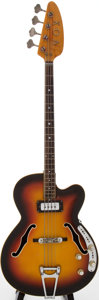 Musical Instruments:Electric Guitars, Late 1960s Vox Bossman Sunburst Electric Bass Guitar, Serial #392484....