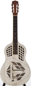 Musical Instruments:Resonator Guitars, 1930 National Tricone Nickel Resonator Guitar, Serial # 2021....