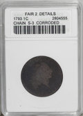 1793 Chain 1C AMERICA--Corroded--ANACS. Fair 2 Details. S-3, B-4 Large Cent, Low R.3. The portrait is outlined, and the...