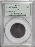 1793 Chain 1C AMERICA XF40 PCGS. S-3, B-4, Low R.3. Breen Die State III. A splendidly detailed example of this fleeting...