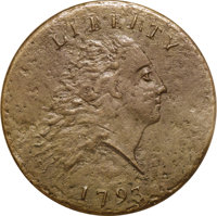 "1793 Chain 1C AMERICA--Corroded--ANACS. XF40 Details. S-3, B-4, Low R.3. The popular ""Leaning R"" variety, alth..."