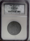 1798 1C First Hair Style--Corroded--NCS. AU Details. S-145, B-2, R.3. A chocolate-brown piece, generally well struck wit...