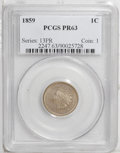Proof Indian Cents: , 1859 1C PR63 PCGS. A razor-sharp proof that has dusky tan patina and a few miniscule planchet flaws, as made. A faint pinsc...