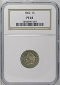 Proof Indian Cents: , 1862 1C PR64 NGC. The shining surfaces and sharply defined devices identify this hazy salmon-colored piece as an unquestion...