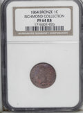 Proof Indian Cents: , 1864 1C Bronze No L PR64 Red and Brown NGC. Ex: Richmond Collection. This well struck piece displays modest cameo contrast ...