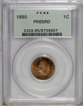 Proof Indian Cents: , 1880 1C PR65 Red PCGS. Slightly mellowed sunset-orange cedes to brick-red around the peripheries, with a couple of small da...
