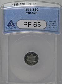 1868 3CS PR65 ANACS. Azure and violet-red patina covers the deeply reflective surfaces of this Gem. A boldly defined spe...