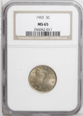 Liberty Nickels: , 1903 5C MS65 NGC. Warm orange and rose patina covers much of thissoftly lustrous Gem. Nicely struck overall with small car...