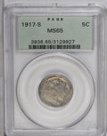 Buffalo Nickels: , 1917-S 5C MS65 PCGS. The 1917-S is one of the great strike raritiesamong early Buffalo Nickels. In many ways it is compara...