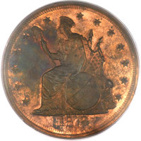 1872 T$1 Commercial Dollar, Judd-1217, Pollock-1358, R.7, PR64+ Red and Brown PCGS. CAC....(PCGS# 71488)