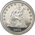 Proof Seated Quarters, 1865 25C PR66 Ultra Cameo NGC....