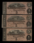 Confederate Notes:1864 Issues, T69 $5 1864. Three Examples.. ... (Total: 3 notes)